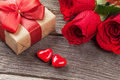 Valentines Day Gift Box, Roses And Candy Hearts Royalty Free Stock Images - 83829329