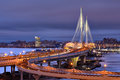 Night View Petrovsky Fairway Cable-Stayed Bridge, St. Petersburg Royalty Free Stock Photos - 83830118