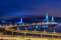 Evening Lighting Cable Stayed Bridge On Highway, St. Petersburg, Stock Photo - 83830130