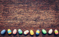 Colorful Easter Egg On Wood Background With Space. Vintage Toned Royalty Free Stock Photography - 83856617