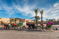 Horse Drawn Carriages For Tourists, Morocco, Africa Royalty Free Stock Photos - 83869258