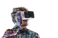 Double Exposure. Man Wearing Virtual Reality Goggles. Night City Stock Image - 83869531