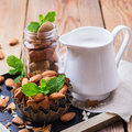 Almond Milk With Ingredients For Healthy Breakfast Royalty Free Stock Photography - 83872277