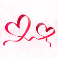Two Red Ribbon Hearts. Valentines Day Background Vector Stock Photos - 83881853