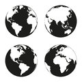 Earth Globe Revolved In Four Different Stages. Vector Illustration Royalty Free Stock Photography - 83893707