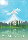 Washington Vector American Poster. USA Travel Illustration. United States Of America Card With Lake. Welcome To Washington Royalty Free Stock Photos - 83896658