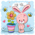 Greeting Card Cute Cartoon Rabbit With Flower Royalty Free Stock Image - 83897746