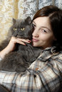 Woman With Cat Stock Photos - 8392003