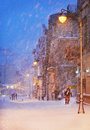 Night Snowfall On The Street Of The City Royalty Free Stock Image - 83904996