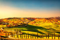Tuscany Countryside Panorama, Rolling Hills And Green Fields On Royalty Free Stock Image - 83915166