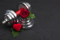 Valentines Sports Background With Dumbbell, Rose And Heart Box. Royalty Free Stock Image - 83918446
