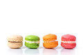 Colorful Macaroons Isolated On White With Space For Text. Traditional French Dessert. Royalty Free Stock Photo - 83926735