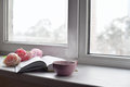 Cozy Home Still Life: Cup Of Hot Coffee, Spring Flowers And Opened Book With Warm Plaid On Windowsill Against Snow Royalty Free Stock Images - 83927009