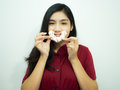 Asian Woman And Donut Royalty Free Stock Images - 83929629