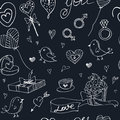 Valentine Doodle Seamless Pattern With Hearts, Flowers, Gifts, Candus And Birds. Stock Image - 83942351