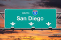 San Diego Interstate 5 South Highway Sign With Sunrise Sky Royalty Free Stock Images - 83955709