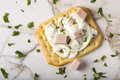 Thin Crispy Crackers With Cream Cheese, Ham And Herbs Royalty Free Stock Image - 83956716
