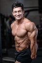 Handsome Bodybuilder Training In The Gym Sexy Man Lift Dumbbells Royalty Free Stock Image - 83959916
