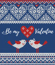 Seamless Pattern On The Theme Of Holiday Valentine`s Day With An Image Of The Norwegian And Fairisle Patterns. Heart Royalty Free Stock Photos - 83962548