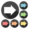 Arrow Right Icons With Long Shadow Set Royalty Free Stock Photography - 83963567
