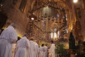 Priests At Mass In Palma De Mallorca Cathedral Royalty Free Stock Photo - 83973625