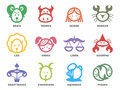 Cute Zodiac Horoscope Line Border Sign Icon On Circle Vector Illustration Set Design Royalty Free Stock Photo - 83986145