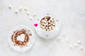 Valentine Day Decoration, Breakfast, White Vintage Cup And Plate, Coffee With Small Marshmallows And Hearts Made From Red Paper Royalty Free Stock Photo - 84000665