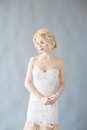 Woman With White Hair In A Wedding Dress. Young Blonde Woman With Blue Eyes. Portrait Of A Beautiful Blonde Girl. Fashion Model Royalty Free Stock Photo - 84040235