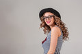 Girl In Glasses And Hat Royalty Free Stock Photography - 84063137