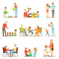 Grandfather And Grandmother Spending Time Playing With Grandkids, Small Boys And Girls With Their Grandparents Vector Stock Images - 84070844