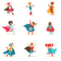 Children Pretending To Have Super Powers Dressed In Superhero Costumes With Capes And Masks Set Of Smiling Characters Stock Images - 84073754