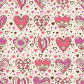 Beige Square Background With  Pink Decorative Valentine Hearts Stock Photos - 84078973