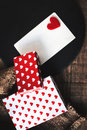 Valentines Day Card With Gift Boxes And  Hearts, Blank White Car Stock Image - 84098121