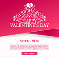 Template Design Valentine Banner. Happy Valentine`s  Day Brochure With Decoration  Pink Tape For Sale. Romantic Poster Stock Images - 84115764