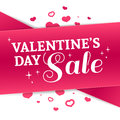 Template Design Valentine Banner. Happy Valentine`s  Day Brochure With Decoration  Pink Tape For Sale. Romantic Poster Stock Image - 84116221