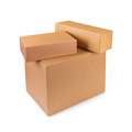 Stacked Cardboard Boxes Isolated On White Royalty Free Stock Photo - 84120995