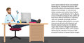 Successful Businessman Having Rest On Workplace In Office. Vector Man Manager Sits On A Chair, His Feet On The Table. Royalty Free Stock Images - 84134069