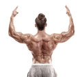 Strong Athletic Man Fitness Model Posing Back Muscles, Triceps, Stock Images - 84135014
