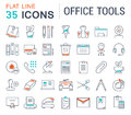 Set Vector Flat Line Icons Office Tools Stock Photos - 84141053