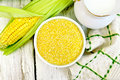 Corn Grits In Bowl On Board Top Stock Image - 84145061