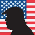 45th President Of The United States Donald Trump Portrait Silhouette With American Flag Stock Photos - 84151503
