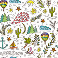 Seamless Pattern With Cactus, Palm Trees, Ship Anchor Royalty Free Stock Photo - 84152215