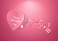 Pink Hearts And Gift Box. Valentines Day And Love Background. Royalty Free Stock Images - 84152329