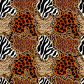Seamless Vector Pattern With Animal Prints. Stock Image - 84158301