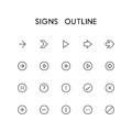 Signs Outline Icon Set Royalty Free Stock Image - 84169626