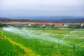 Agricultural Sprinklers Watering In A Field, Stock Images - 84190484