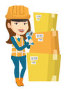 Warehouse Worker Scanning Barcode On Box. Stock Image - 84202131