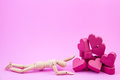 Wooden Dummy Was Crawling To A Pile Of Paper Box Red Heart Shape Royalty Free Stock Images - 84208199