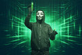 Hacker Man With Vendetta Mask Hacking Binary System Security Cod Stock Photography - 84215872