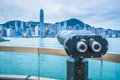 Coin-operated Telescope  In Victoria Harbor Of Hong Kong Stock Photos - 84216723